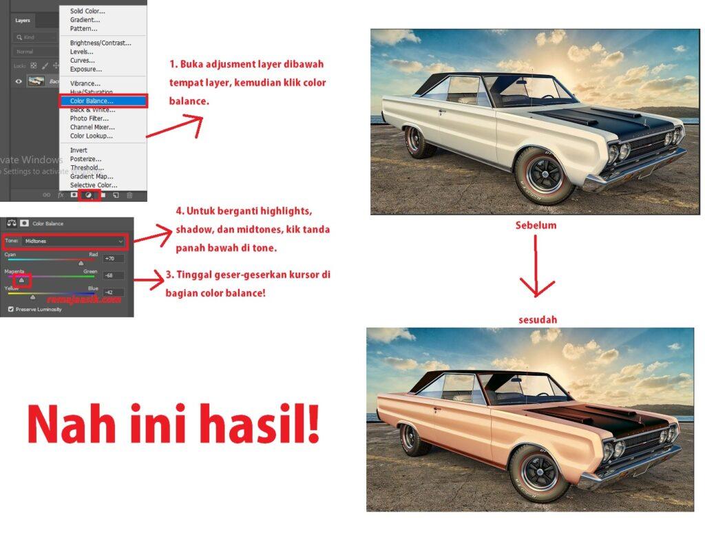 cara merubah warna objek gambar di photoshop